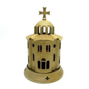 Candela Bisericuta din antimoniu cu pahar