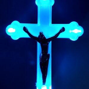 Cruce cu led albastra