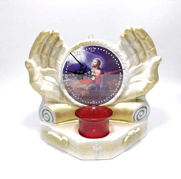 Candela cu icoana Iisus si ceas