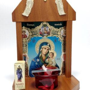 Candela troita din lemn cu Icona Floarea Maicii Domnului
