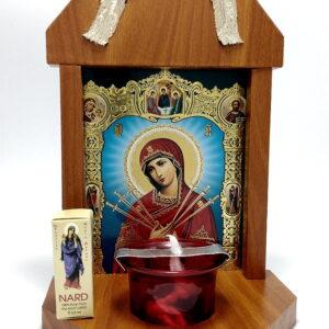 candela troita din lemn cu Icona Maicii Domnului 7 sageti