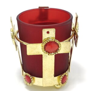 Candela metalica cruce cu pahar rosu